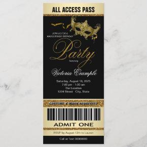 Black Gold Ticket Style Masquerade Party Invitation