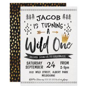 Black Gold Wild One Boys 1st Birthday Invitations