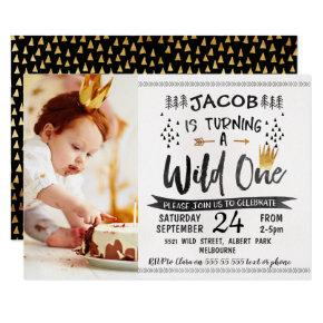 Black Gold Wild One Photo 1st Birthday Invitations