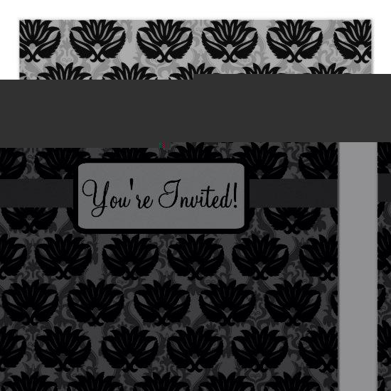 Black Grey Art Nouveau Damask Happy Birthday Party Card Candied Clouds