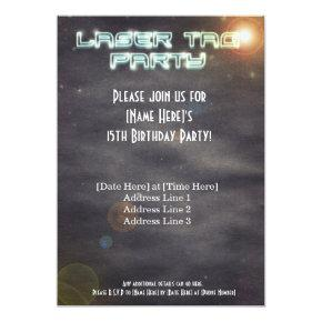 Black Laser Tag Party Invite