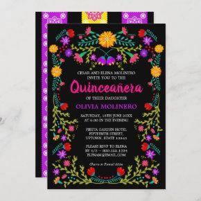 Black Mexican Fiesta Folk Art Floral Quinceanera Invitation
