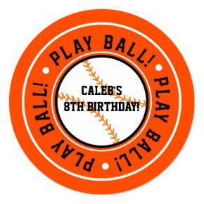 Black & Orange Baseball PLAY BALL Party Invitations