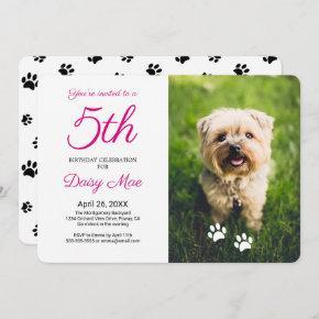 Black Paw Prints Pet Birthday Photo Invitation