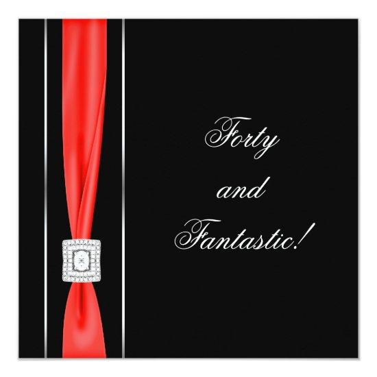 Black Red Womans Classy 40th Birthday Party Invitations