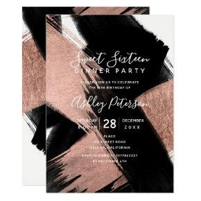 Black rose gold brushstrokes typography Sweet 16 Invitations