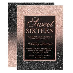 Black rose gold glitter elegant chic Sweet 16 Invitation