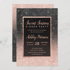 Black rose gold glitter typography Sweet 16 Invitation