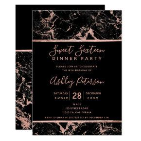 Black rose gold marble typography Sweet 16 Invitation