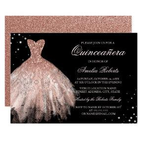 Black Rose Gold Sparkle Dress Quinceanera Invite