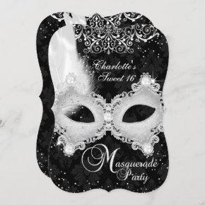 Black Silver Damask Mask Masquerade Sweet 16 Invitation