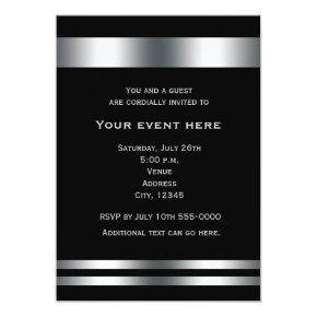 Black Silver Elegant Dinner Party Event Invitation
