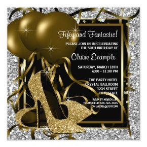 Black Silver Gold High Heels Womans Birthday Party Invitation