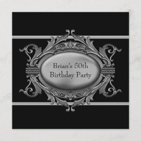 Black Silver Mans 50th Birthday Party Invitation