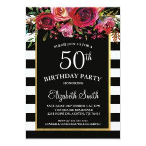 Black Stripe Floral Birthday Invitation