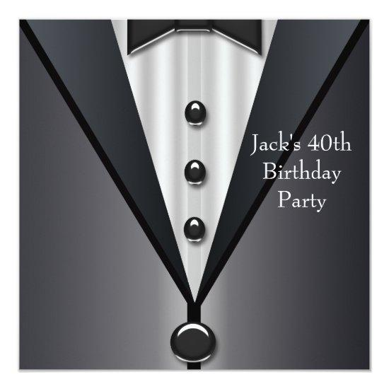Black Tuxedo Mans 40th Birthday Party Invitations Candied Clouds