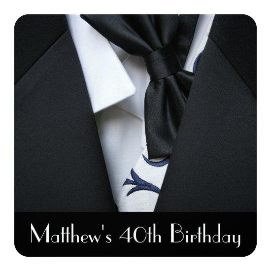 Black Tuxedo Mens 40th Birthday Party Invitations