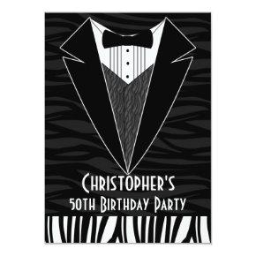 mens tuxedo party birthday invitations candied clouds