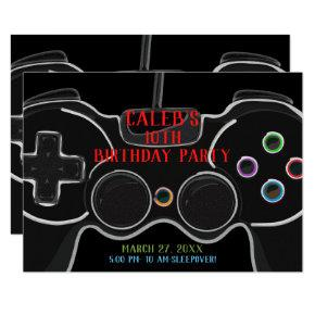 Black Video Game Controller Birthday Party Invitations