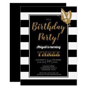Black White And Gold Glitter 3rd Birthday Party Invitations