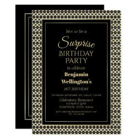 Black White And Gold Surprise 21st Birthday Party Invitation
