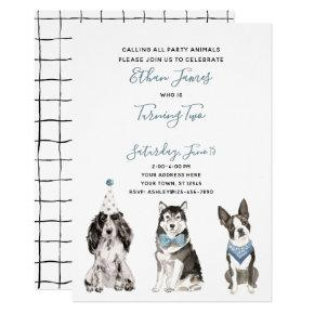 Black White Blue Dog Boy's 2nd Birthday Party Invitation