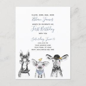 Black White Blue Script Farm Birthday Invitation