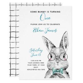 Black & White Blue Some Bunny is One Birthday Invitation