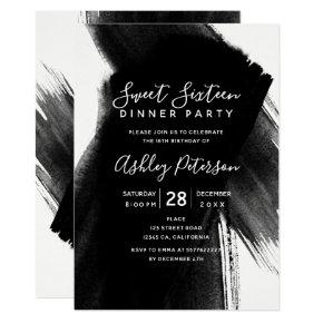Black white brushstrokes typography Sweet 16 Invitations