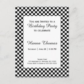 Black White Checkerboard Birthday Invitation Post