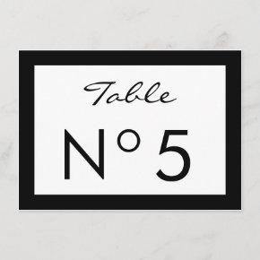 Black & White Fashion Sweet 16 TABLE NUMBER CARD