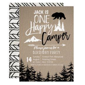 Black White Forest Camping Birthday party Invitation