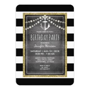 Black White Nautical Stripe Birthday Party Invitation