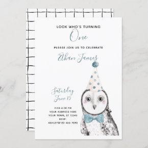 Black & White Owl 1st Birthday Boy Party Invitation