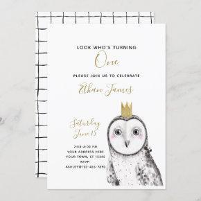 Black & White Owl Baby 1st Birthday Party Invitation