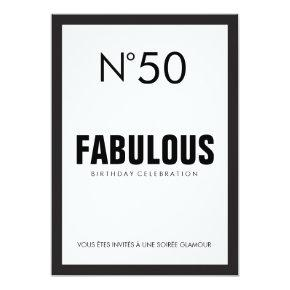 Black & White PARIS Theme FABULOUS 50TH Birthday Invitation