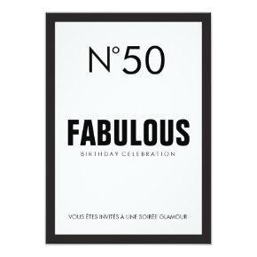 Black & White PARIS Theme FABULOUS 50TH Birthday Invitations
