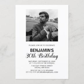 Black & White Photo Birthday Invitation