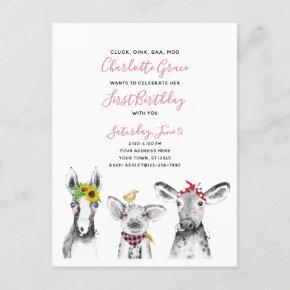 Black White Pink Script Farm Birthday Invitation