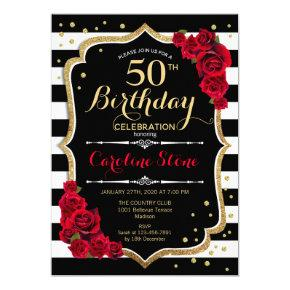 Black White Stripes Roses 50th Birthday Invitation