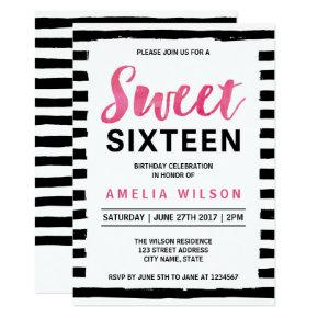 Black & White Stripes Sweet 16 Birthday Invitation