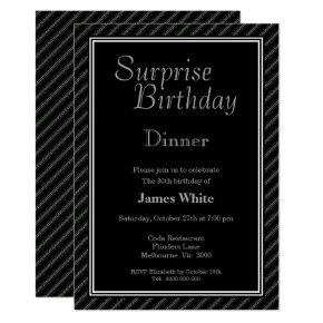 Black & White Surprise 30th Birthday Dinner Invitation