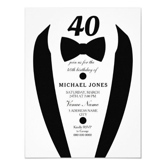 Black White Tuxedo Mens 40th Birthday Party Invite