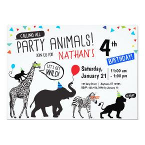 Black White Wild Party Animal Birthday Invitations