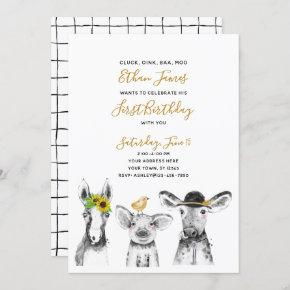 Black White Yellow Script Farm 1st Birthday Party Invitation