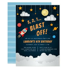 Blast Off | Outer Space Birthday Party Invitations