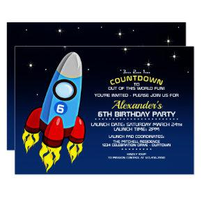 Blast off birthday invitations candied clouds blast off rocket ship birthday party invitation filmwisefo