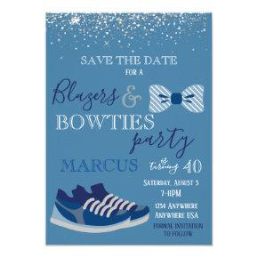 Blazers & bowties Party Mens 40, 50 Save the date Invitation
