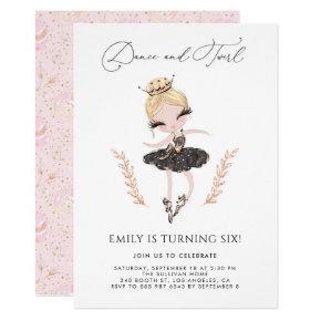 Blonde Ballerina in Black Dress Glitter Birthday Invitation