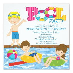 Blonde Boy Birthday Summer Pool Party Invitations